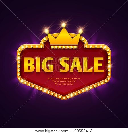 Big sale casino discount banner with marquee lights frame vector illustration. Frame banner big sale, promotion offer with decoration casino