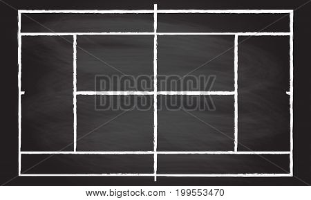 Tennis court or field isolated on blackboard texture with chalk rubbed background. Vector illustration.