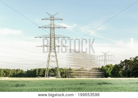 Building of high voltage power lines towers.