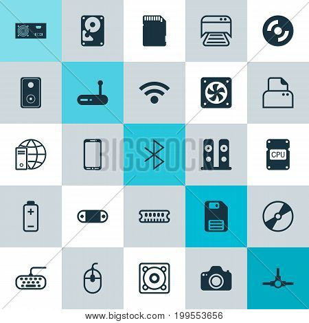 Computer Icons Set. Collection Of Wireless Connection, Audio Device, Diskette And Other Elements