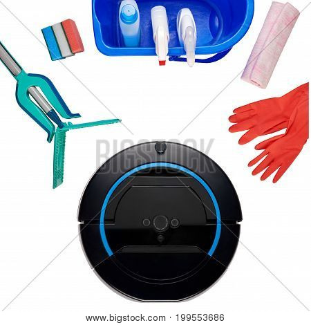 Set of house cleaning products isolated on white background and new technologies