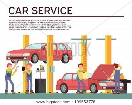 Automobile service and vehicle check vector background with car and mechanics in uniform. Repair car in service garage illustration