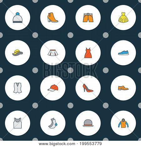 Garment Colorful Outline Icons Set. Collection Of Dress, Beanie, Skirt And Other Elements