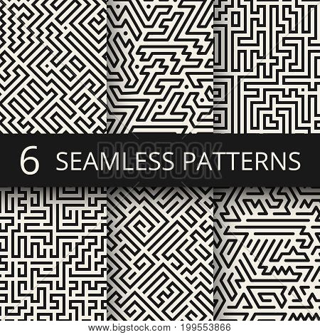Techno graphic line seamless textures. Modern stripes fashion design backgrounds. Pattern geometric line collection illustration