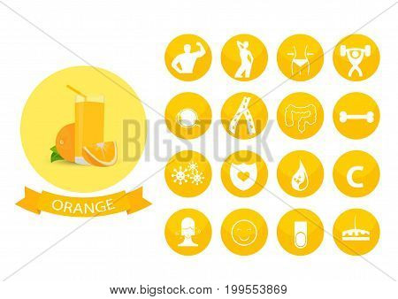 Illustration of a glass of orange juice , infographic elements
