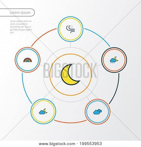 Air Colorful Outline Icons Set. Collection Of Lunar, Rainbow, Overcast Weather And Other Elements
