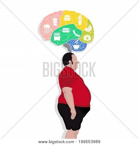 vector Fat man think with junk food icon illustrator