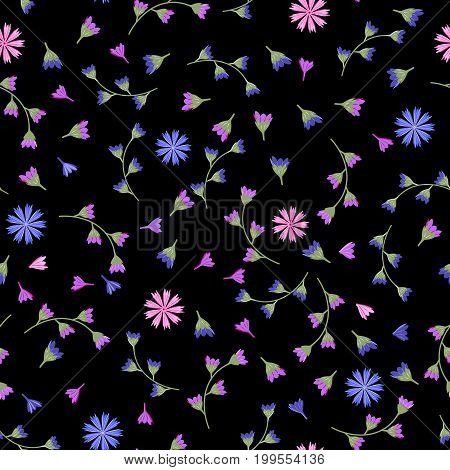 Flowery cornflower on a dark black background. Floral seamless background for textile book covers manufacturing print fabric.