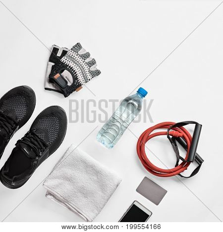 Sport equipment and accessories for men on white background, image with Square ratio