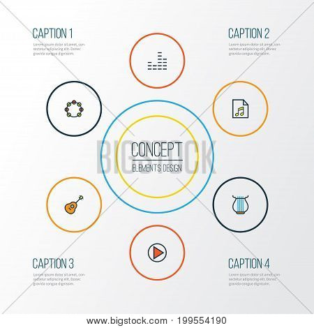 Audio Colorful Outline Icons Set. Collection Of Harp, Play, List And Other Elements