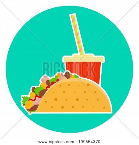 Flat colorful vector lovely fast food couple - cola and mexican taco. Cute fastfood tacos symbol for cafe bar restaurant menu and web design