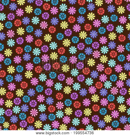 Flowery cornflower on a dark,black background. Floral seamless background for textile, book covers, manufacturing, print, fabric.
