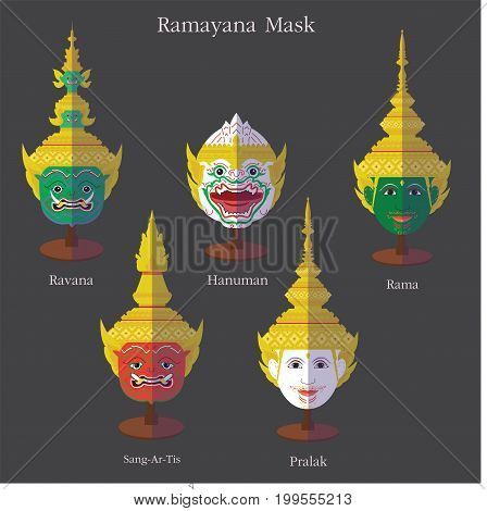 Ramayana mask (Khon Thai) eps 10 format