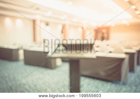 Blur Background,podium At Seminar Event Room,business Concept