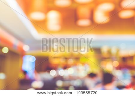 Blurred Background ,customer In Restaurant With Bokeh Light,vintage Filter