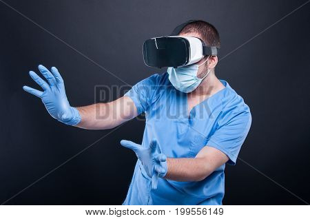 Doctor Wearing Scrubs Using Virtual Reality Glasses