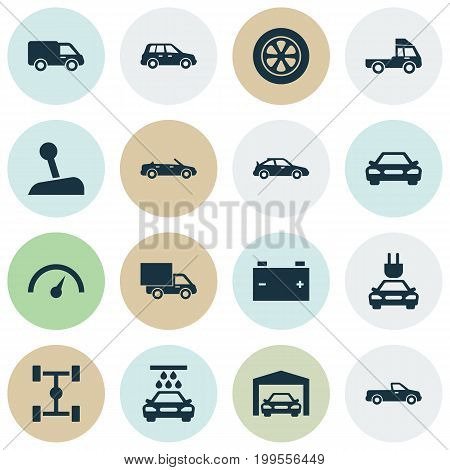Auto Icons Set. Collection Of Crossover, Car, Wheel And Other Elements