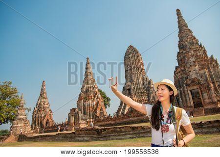 Girl Taking Phone Selfie At Thailand
