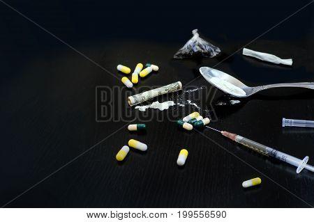Hard Drugs On Dark Table