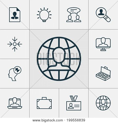 Management Icons Set. Collection Of Document Suitcase, Human Mind, Dialogue And Other Elements