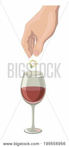 Man throws a diamond ring into a glass of wine. Colored vector illustration on white background