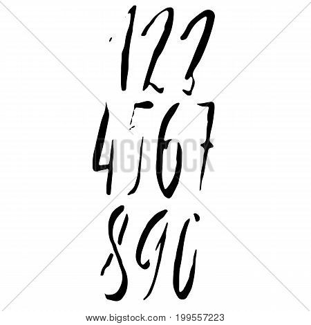 Set of calligraphic ink numbers. Dry brush lettering. Vector illustration