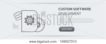 Flat line illustration business concept web banner of custom software development company site services app design programming coding building and debugging for websites and marketing materials on gray paper background