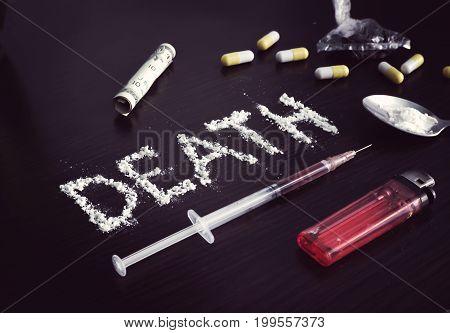 Hard Drugs On Dark Table.