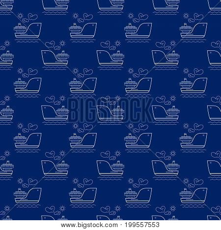 Seamless Travel Pattern with Ship Maritime Tourism Concept Line Style Design Vector Illustration