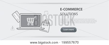 Flat line illustration business concept web banner of e-commerce solutions company site services online shopping store provision services digital data transmission for websites and marketing materials on gray paper background
