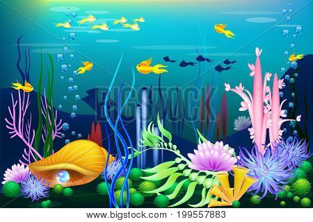 Undersea world with golden seashell, fish and pearls. Marine trasure for games and sites. diving attraction, Vector illustartion