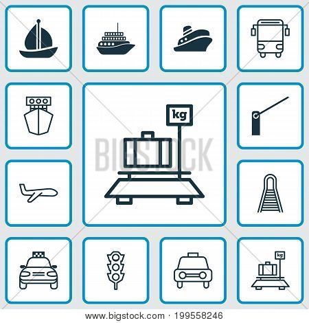 Transport Icons Set. Collection Of Baggage, Ship, Taxi And Other Elements