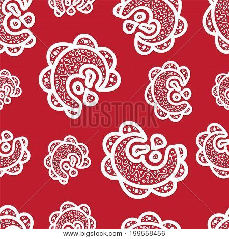 Seamless pattern.White doodle elements on red background. Ornamentsfor web wrapping paper print card fabric textile design. Vector illustration.Bright texture.Abstract backdrop. Aztec style.