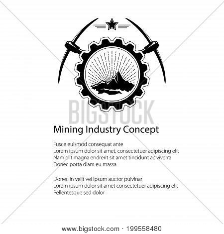 Mining Industry Emblem Sunburst and the Mountains in Gear with Pickaxe and Star and Text Poster Flyer Brochure Design Vector Illustration