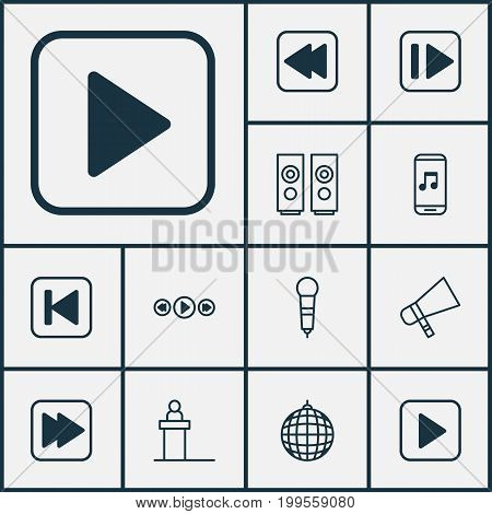 Audio Icons Set. Collection Of Following Song, Following Music, Sound Box And Other Elements