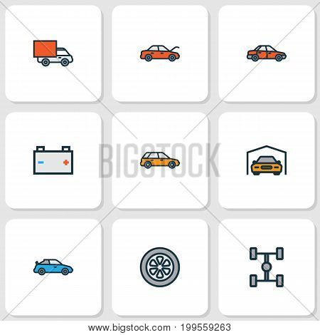 Auto Colorful Outline Icons Set. Collection Of Carcass, Drive, Van And Other Elements
