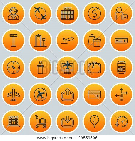 Airport Icons Set. Collection Of Flight Path, Airliner, Airport Card And Other Elements