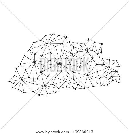 Bhutan map of polygonal mosaic lines network rays and dots vector illustration.