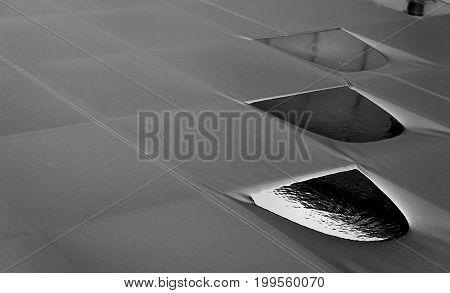 Rain On Canvas Roof That Conveys The Loneliness And Emptines