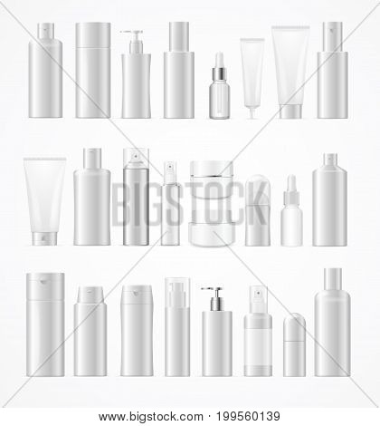 Realistic Template Blank White Big Cosmetic Bottles Set Isolated Empty Mock Up Design Web for Cosmetic Beauty Product. Vector illustration of random type of bottle pack