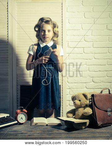 Little Baby Secretary With Bear And Book.