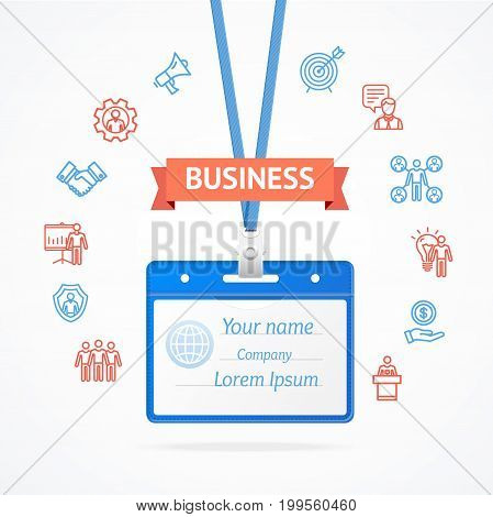 Business Management Concept with Id Card Thin lines outline web icons Identification Badge Security Office Access for adwertizing. Vector illustration
