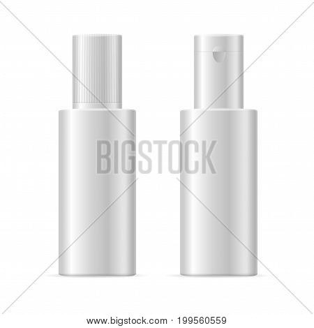 Realistic Template Blank White Cosmetic Bottle Isolated For Shampoo, Cream, Lotion or Fluid. Vector illustration of two bottles view