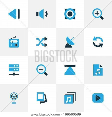 Media Colorful Icons Set. Collection Of Previous, Play, Randomize Elements