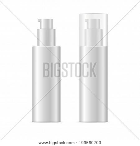 Realistic Template Blank White Spray Cosmetic Bottle Isolated Symbol Moisturizing Body Lotion. Vector illustration of two bottles view