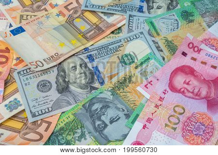 American Dollars, Euro Money, Australian Dollars And Chinese Yuan Money.