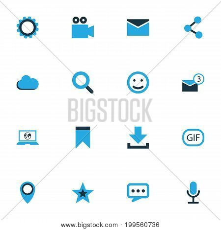 Social Colorful Icons Set. Collection Of Animation, Chatting, Cloud And Other Elements