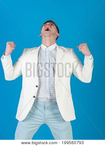 Man Shouting With Winner Gesture