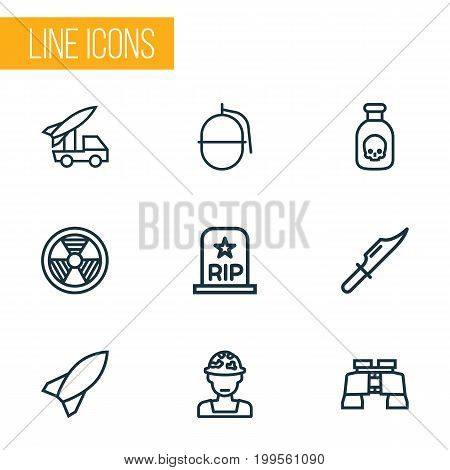 Warfare Outline Icons Set. Collection Of Bombshell, Cutter, Officer And Other Elements