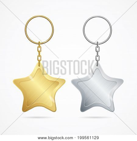 Realistic Template Metal Keychains Set Golden and Silver Star Shape. Vector illustration of fun keychain